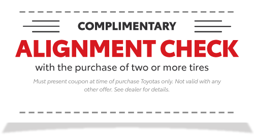Complimentary Alignment Check with the purchase of two or more tires