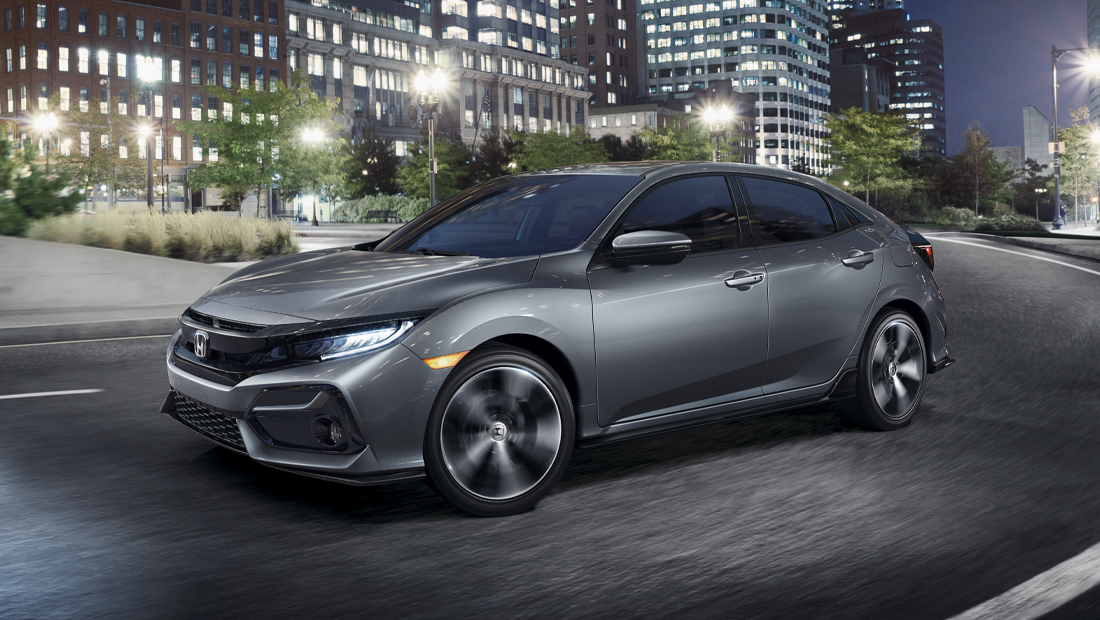 2019 Honda Civic Hatchback Sport Touring shown in Sonic Gray Pearl