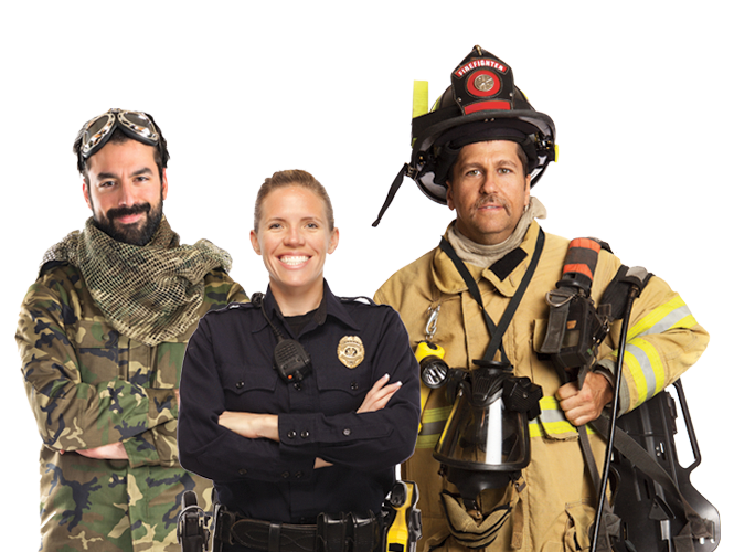 Standing Army Man, Police Officer, and Fire Fighter