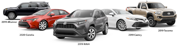 2020 Corolla, 2019 4Runner, 2019 RAV4, 2019 Camry, and 2019 Tacoma