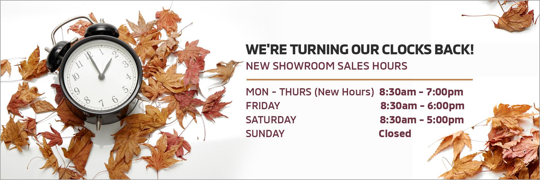 New Showroom Hours