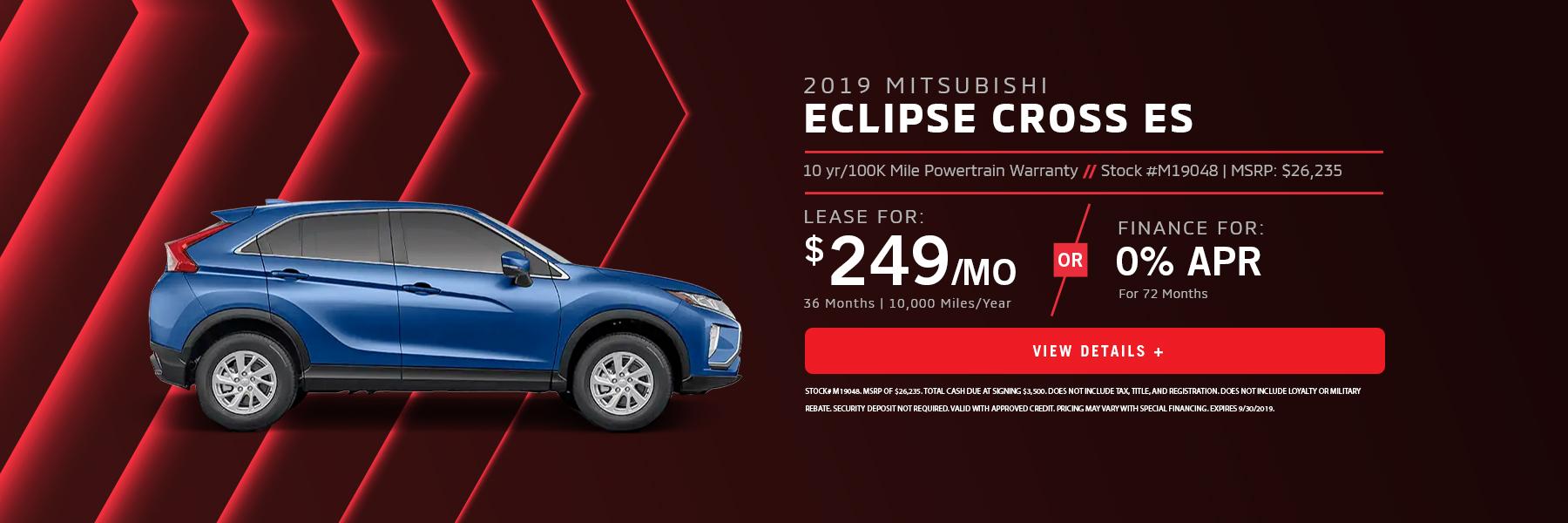 Eclipse Cross Lease or 0% APR Financing