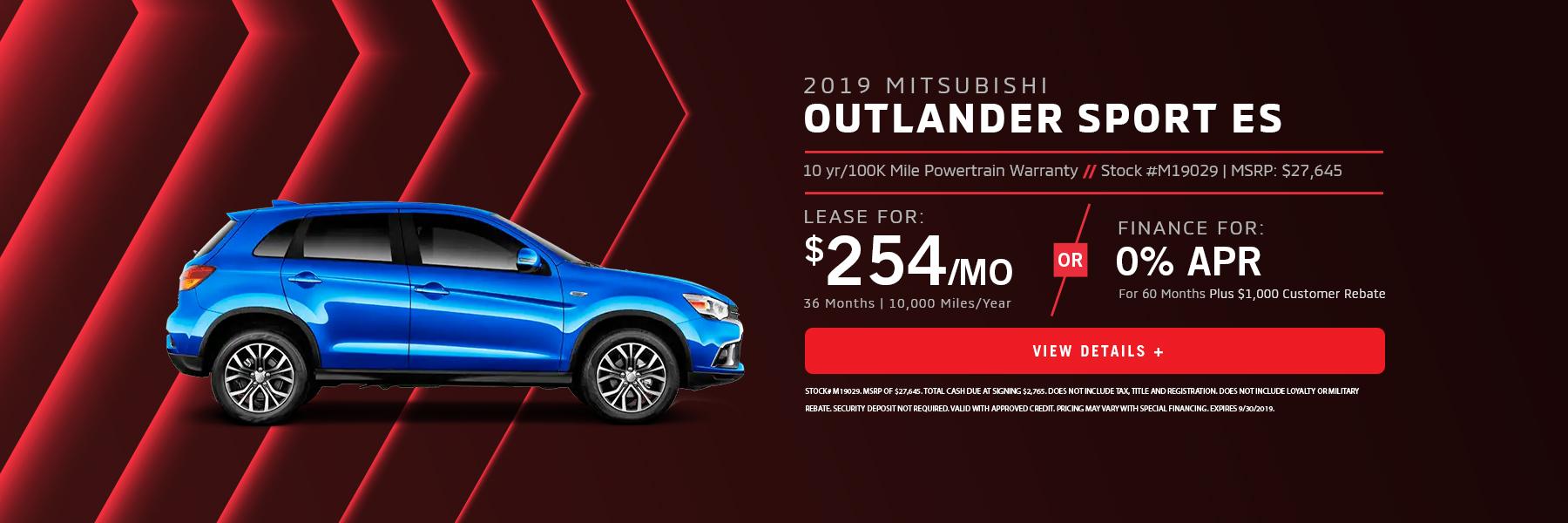 Outlander Sport 0% Financing