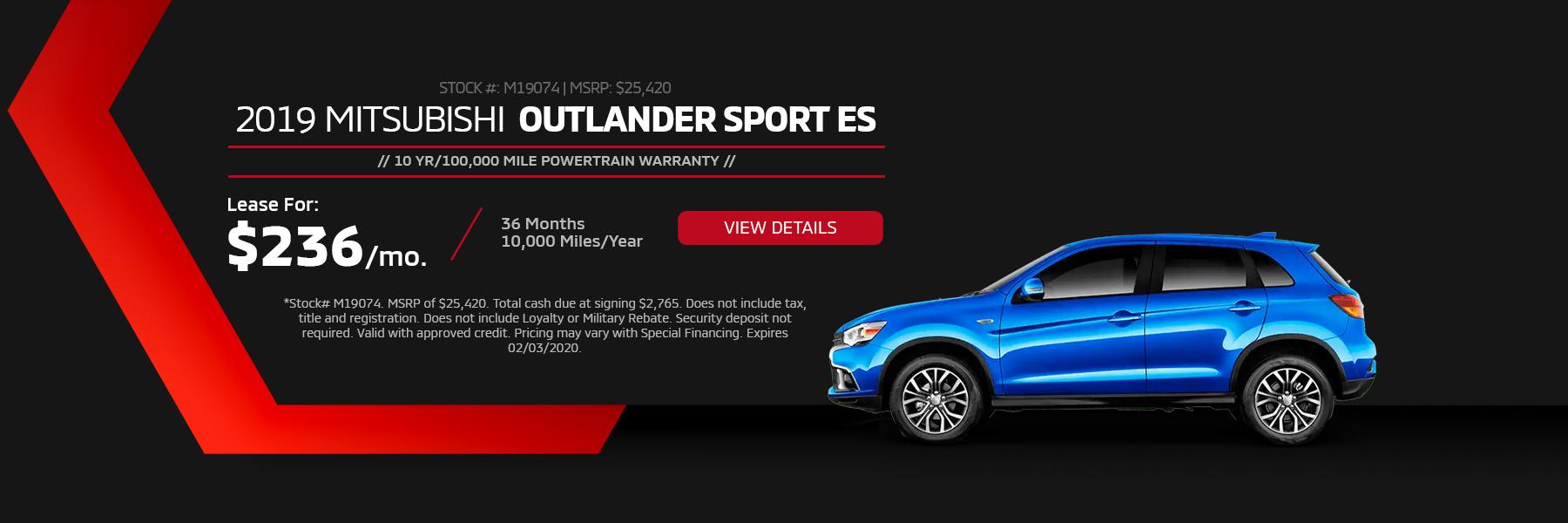 2019 Mitsubishi Outlander Sport ES