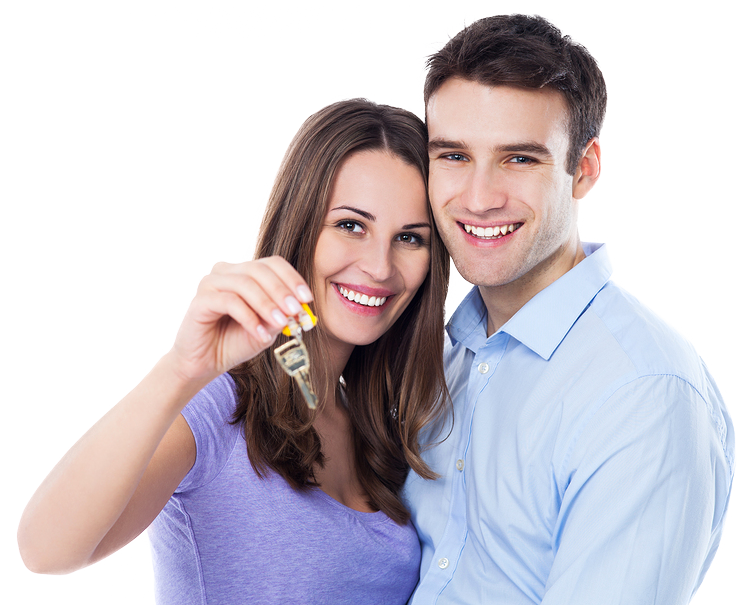 A happy couple holding car keys