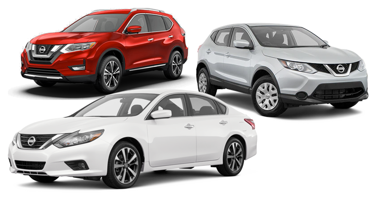 2017 Nissan Altima, Rogue, and Rogue Sport vehicles