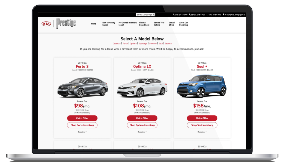 Prestige Kia Vehicle Specials Page